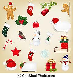 grande, jogo, natal, ícones