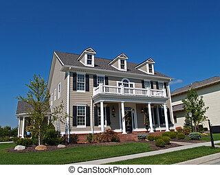 grande, lar, bronzeado, dois andares