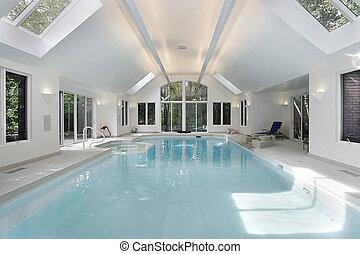 grande, lar, luxo, piscina, natação