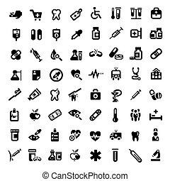 grande, médico, jogo, ícones