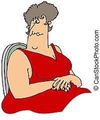 grande, mulher, vestido, vermelho