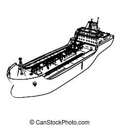 grande, navio, petroleiro