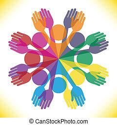 grande, pessoas., coloridos, grupo