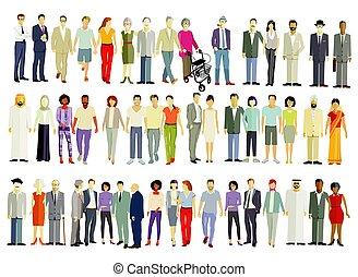 grande, pessoas, grupo, isolado, diferente, -, vetorial, illustration.eps
