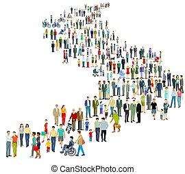grande, pessoas, grupo, row.eps