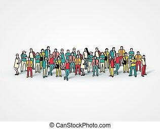 grande, pessoas., grupo