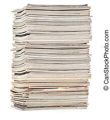 grande, revistas, coloridos, pilha