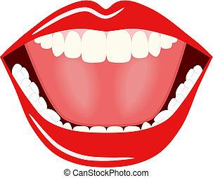 grande, vetorial, boca
