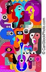 grande, vetorial, grupo, ilustração, pessoas