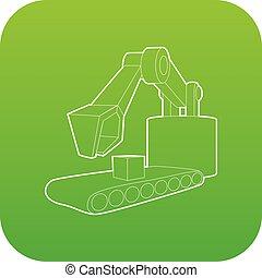grande, vetorial, verde, escavador, ícone