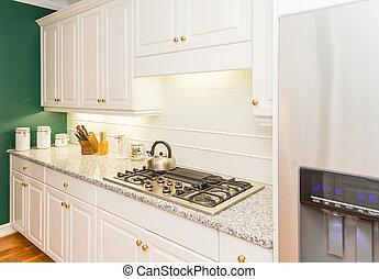granito, countertops, modernos, cozinha, novo