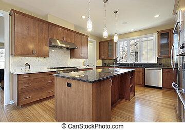 granito, cozinha, ilha