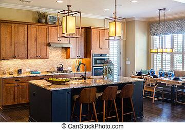 granito, instalações, modernos, cozinha