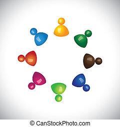 graphic., berçário, crianças, pessoal, reuniões, -, jardim infância, também, 3d, coloridos, discussão, ilustração, representa, escola brinca, este, empregados, tendo, junto, tocando, play-home, vetorial, divertimento, ou