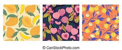 graphics., vetorial, seamless, cobrança, patterns., fruta