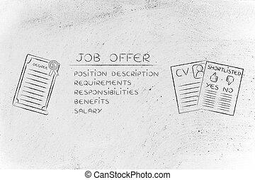 grau, logo, oferta, cv, trabalho, elementos, shortlist