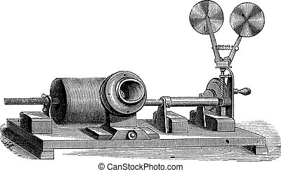 gravura, c, m, -, clockwork, vindima, boca, gramophone, cilindro