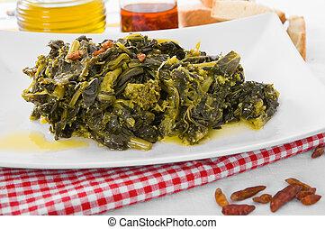 greens., nabo, stewed