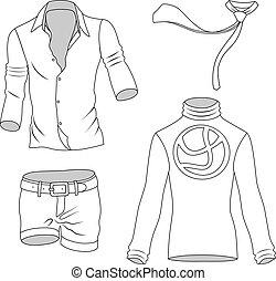 greyscale, homem, cobrança, roupas