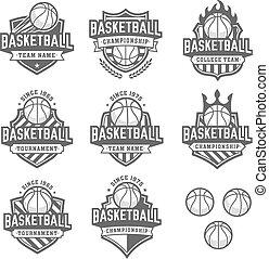 greyscale, logotipos, basquetebol, vetorial