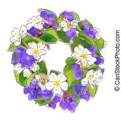 grinalda, bosque, primula., violetas