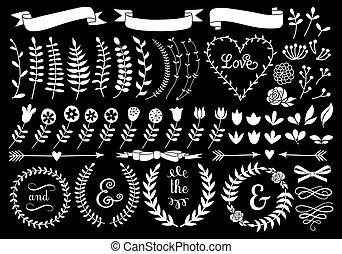 grinalda, floral, vetorial, laurel, branca