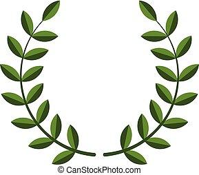 grinalda, laurel, símbolo, vetorial
