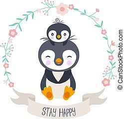 grinalda, pingüim, bebê, mãe, feliz, flor, ficar