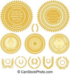grinaldas, vetorial, ouro, selos