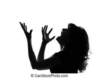 gritando, silueta, mulher, zangado