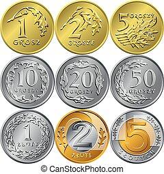 grosz, zloty, dinheiro, polaco, jogo, moedas