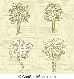 grunge, árvore, figura, mão