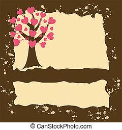 grunge, árvore, fundo