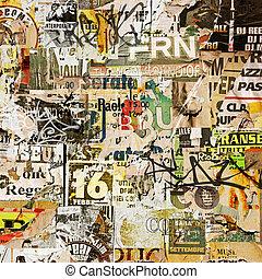 grunge, cartazes, rasgado, antigas, fundo