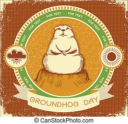 grunge, day., groundhog, texto, etiqueta, textura, fundo, vetorial