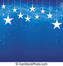 grunge, experiência azul, neve, elements., natal, festivo, escuro, estrelas, flocos