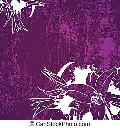 grunge, flor, lírio, fundo