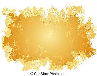 grunge, fundo, neve, dourado, estrelas, flocos