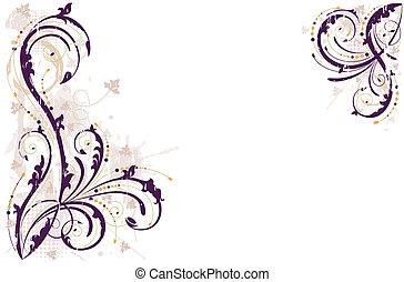 grunge, fundo, vetorial, floral