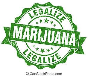 grunge, legalize, marijuana, isolado, verde, selo, branca