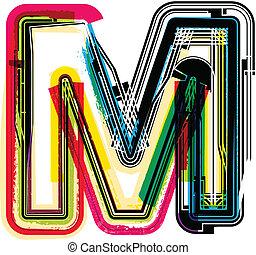 grunge, m, coloridos, letra