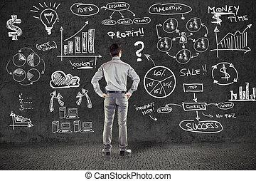 grunge, negócio, parede, plano, paleto, homem negócios