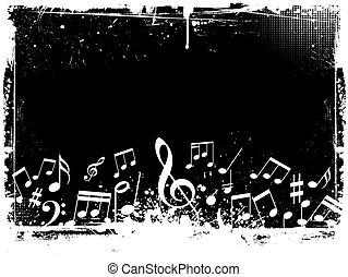 grunge, notas, música