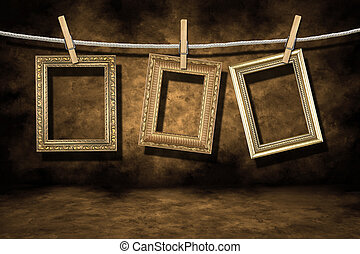 grunge, ouro, afligido, foto, fundo, bordas