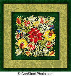 grunge, primavera, abstratos, ornamento, fundo, floral