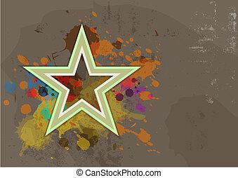 grunge, respingo, retro, fundo, tinta, estrela