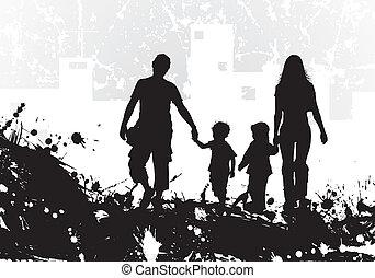 grunge, silueta, fundo, família