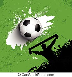 grunge, torcida, futebol, /, fundo, futebol