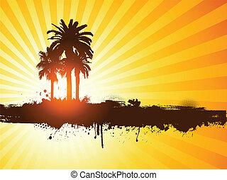 grunge, verão, árvore palma, fundo