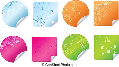 grungy, adesivos, etiquetas, multicolored